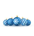blue christmas balls set holiday decorative new vector image vector image