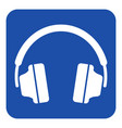 blue white information sign - headphones icon vector image vector image