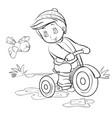 boy rides a small bicycle a bird flies next to vector image vector image