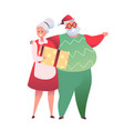 cartoon senior couple for christmas design vector image