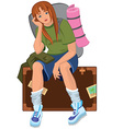 Cartoon young woman sitting on brown suitcase with vector image