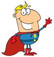 Caucasian Cartoon Super Hero Waving Man vector image