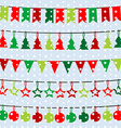 Christmas background with garlands and buntings vector image vector image