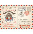 christmas holiday airmail postcard greeting card vector image