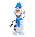 christmas snowman with a blue hat scarf and ugg vector image vector image