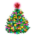christmas tree with colorful balls star toys vector image vector image