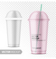 clear disposable plastic cup with lid with label vector image vector image