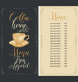 coffee house menu with cup hot and price vector image vector image