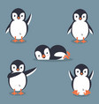 collection of cartoon penguin vector image