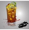 Cuba libre cocktail with color splash vector image
