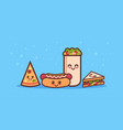 cute sandwich pizza hot dog and shaverma fast food vector image vector image