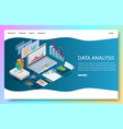 data analysis website landing page design vector image