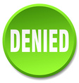 denied green round flat isolated push button vector image vector image