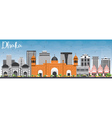 Dhaka Skyline with Gray Buildings and Blue Sky vector image vector image