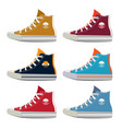 different colors of teenage sport sneakers vector image