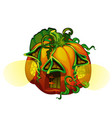 fairy house in form ripe pumpkin with glowing vector image vector image