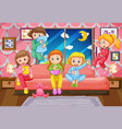 five girls having slumber party at night vector image vector image