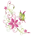 Flowers butterfly vector image vector image