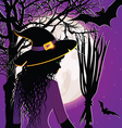 halloween background with young witch vector image vector image