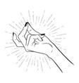hand drawn female hand with snapping fingers vector image vector image