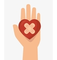 hand hols heart cure band icon vector image