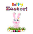 happy easter greeting card with colored text and vector image