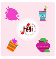 happy holi festival holi colored icons with vector image