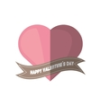 happy valentines day card pink heart shadow vector image