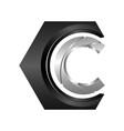 hexagon c logo concept geometric vector image