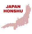honshu island map - mosaic of valentine hearts vector image vector image