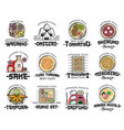 japanese cuisine dishes icons of asian food vector image vector image