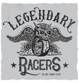 legendary racers poster vector image vector image