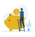 man is standing on stairs and puts in piggy vector image vector image