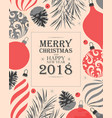 merry christmas greeting postcard vector image vector image