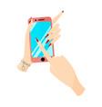 modern pink smartphone phone in female hands vector image