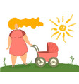 mother with baby carriage mom vector image