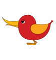 red small bird with yellow wings on white vector image vector image