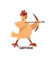sagittarius zodiac sign funny chick character vector image