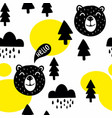 seamless pattern with cute bears and trees vector image