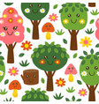 seamless pattern with funny trees kawaii vector image