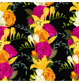 seamless pattern with lilies and roses vector image vector image