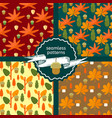 set of autumn foliage seamless patterns vector image