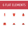 set of clothes icons flat style symbols with t vector image