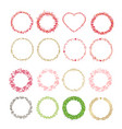 set of frames made from hearts collection wreaths vector image vector image
