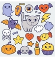 Set of halloween kawaii cute doodles and objects vector image vector image