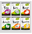 Set of hand drawn labels food spices