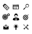 Set of SEO icons - target with arrow tag world vector image vector image