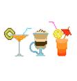 set pixel drinks vector image vector image