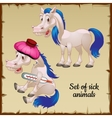 Sick and healthy white horses vector image vector image