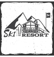 Ski resort concept with cottage vector image